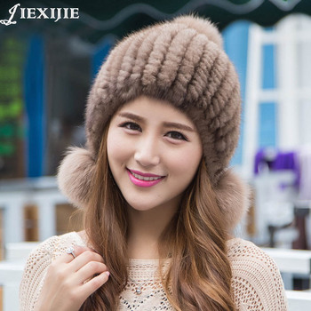 Autumn winter optimal Real mink fur hat knitted ear protector hats for girls