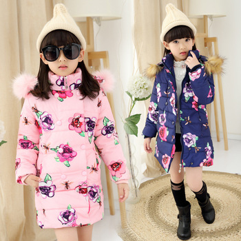 2016 Winter Girls Long Cotton-Padded Parkas Fur Hooded, Flower Girls Winter Coat,Thick Winter Jacket For Girls, Height 110-150cm