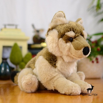 Children 's toys Pillow Gifts Stuffed Plush Animals Toy Simulation Animals coyotes doll squatting grassland wolf