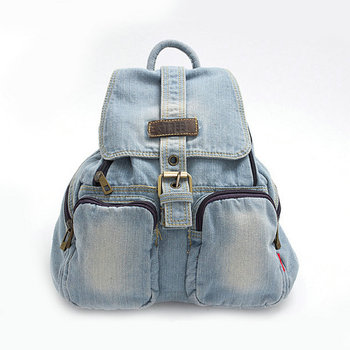 Classic washed blue denim backpack student jeans school bag man and women's leisure travel bags with zipper pockets