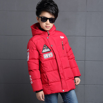 Boys Chest Labeling Design Handmade Cotton Coat Children Fall and Winter Fill Cotton Hooded Warm Cuff Fashion Coat