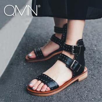 QMN women genuine leather sandals Women Studded Glossy Leather Ankle Strap Summer Leisure Shoes Woman Rivets Sandals 34-39