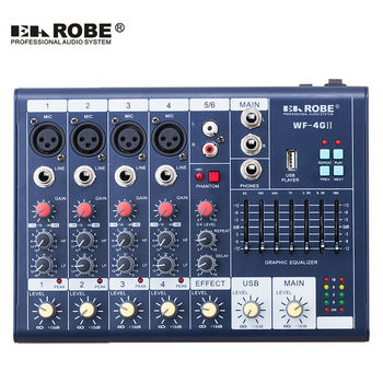 WF-4GII Audio Mixer Console with USB,Built in effect processor Audio Mixer, 6 channel mixer sound console 48v power supply