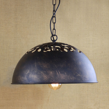American Countryside Industry Vintage Iron Chain Retro Circle Pendant Light Loft Bedside Aisle Lamp