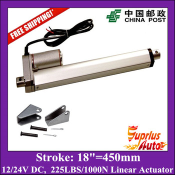 18inch/450mm 12v linear actuatorr, 1000N/100kgs/225lbs load electric linear actuators with mounting brackets