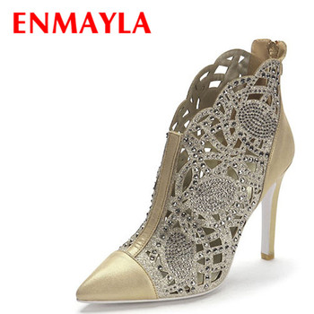 ENMAYLA Women Summer Cut-out Ankle Boots Gold Silver Colors Sexy Rhinestones Pointed Toe High Heels Shoes Women Thin Heels Pumps