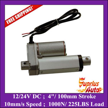 100mm/ 4 inch stroke, 1000N/100KG/225LBS load electric linear actuator 12v