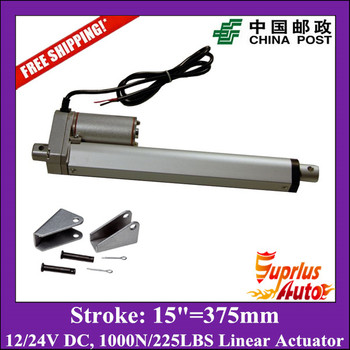 12V, 375mm/ 15inch stroke, 1000N/100KGS/225LBS load linear actuator with mounting brackets send by China Post
