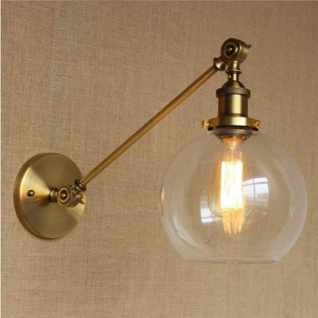 Edison Retro Loft Style Industrial Wall Lamp With Glass Lampshade Brass Vintage Wall Sconce Stair Light Fixtures