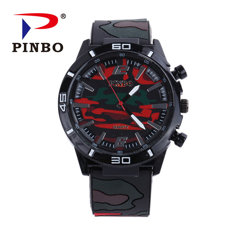 PINBO Men Watch Top Brand Luxury military sport Wristwatch Silicone Male Clock Quartz Watch Wrist Quartz-watch Relogio Masculino