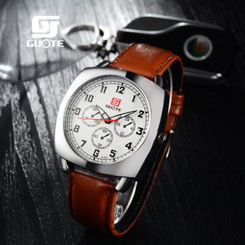Brand GUOTE 2017 new men's watches quartz watch men fake three dial luminous waterproof 30M outdoor sports leather strap watches