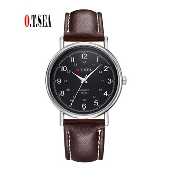 Luxury O.T.SEA Brand Fashion Leather Watch Men Sports Quartz Analog Wristwatches Casual Cool Watch W043-1