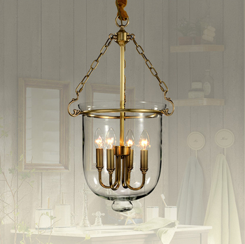 American Country Glass Copper Pendant Lights Fixture Hoem Dining Room Restaurant Droplights Pastoral Bedroom Pendant Lamps
