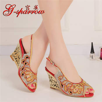 Summer Fashion Sexy Princess Crystal Red High Heel Peep Toe Pumps Diamond Sandals Wedding Shoes
