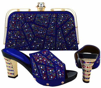 Italian Design High Heel 38-42 Shoes And Bag Set African Style Sandal Shoes With Handbag Sets For Wedding&Party BCH-19 PURPLE