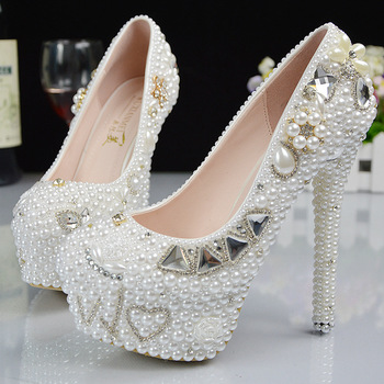 2016 New Platform Beautiful Pearl Lace White Wedding Shoes Women Pumps Party Dance Sexy High-Heeled Shoes 9/11/14 cm size 34-42