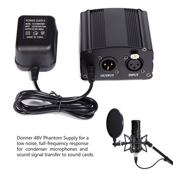 BM-800 Microphone Capacitor Professional Audio Computer +48 V Phantom Power + Sound Card + Bracket + Adapter + Filter Complete
