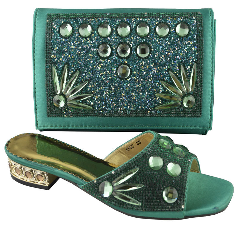 By DHL!!!! arrival Lady fashion african shoes and matching bags GF32 green size 38-42