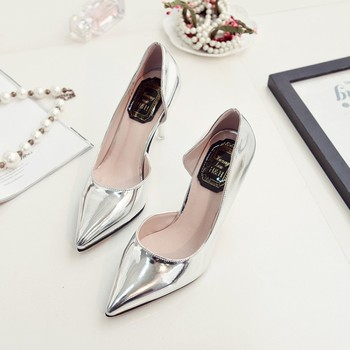 2016 spring summer women new high-heeled shoes classics lady pointed toe pumps silver sexy female pointed shoes leather