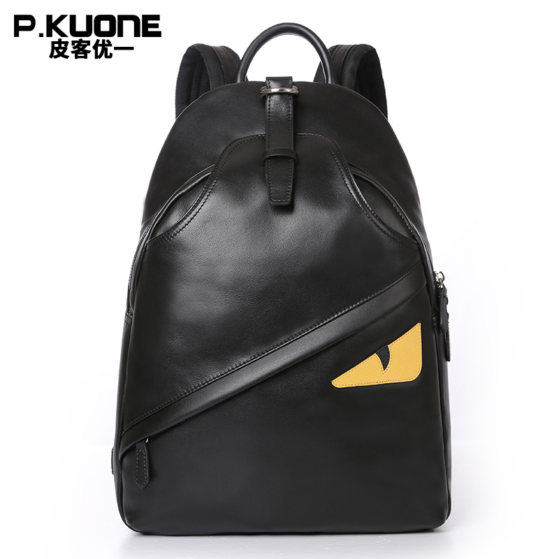 P.KUONE Brand Black Monster Eye Backpack Printing School Funny Bag Leather Backpack For Teenage Girls Mochila Escolar sac a dos