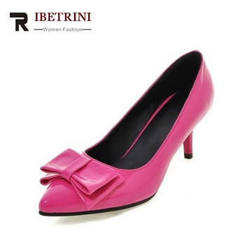 RIBETRINI New Bowtie Women Pumps Small Big Size 33-45 High Heels Woman Shoes Office Lady Pointed Toe Party Shoes