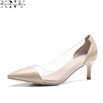 Women Summer Premium Rubber Transparent Pump Woman Toning Dress Shoes Handmade Ladies Fashion High Heels 6cm Big Size 45 9/30