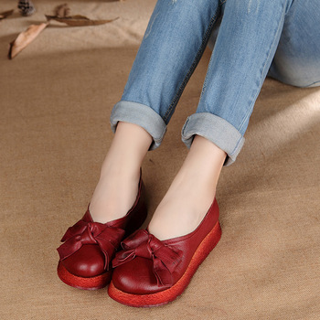 Designer Spring Womens Red Pumps Sale Genuine Leather Ladies 3CM Heel Shoes Brown Handmade Women Wedges Bowknot Comfortable