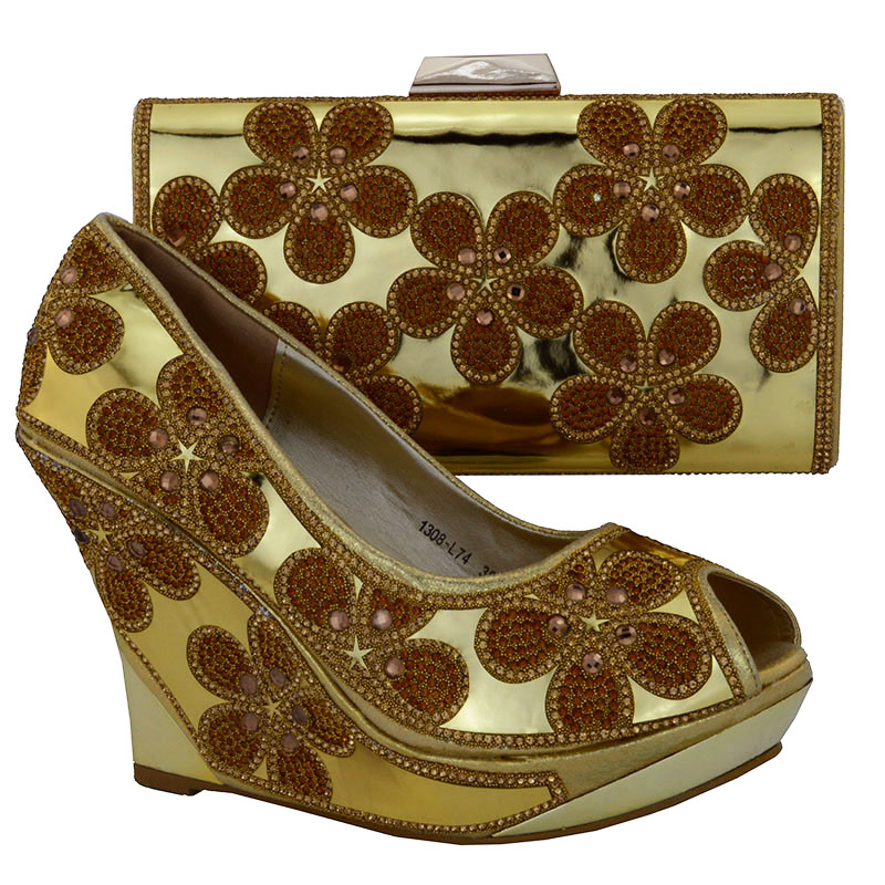 1308-L74 gold color size 38-42 Favorite Design Italian Shoes and Bag Set Good Selling African Wedding Shoes And Bag Set