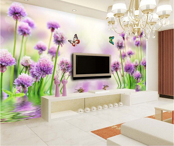 3D wallpaper custom mural non-woven wall paper Purple flower reflection TV setting wall painting photo wallpaper for walls 3d