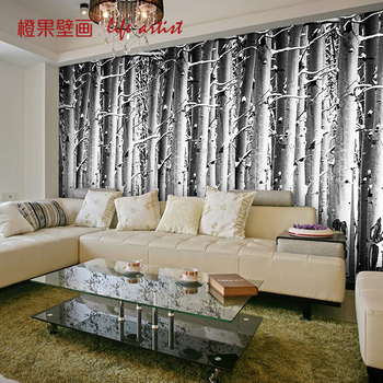 Birch forest dining room TV background wall bedroom living room hotel KTV bar coffee house wallpaper mural