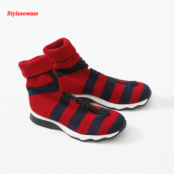 Stylesowner High Street Fashion Knitted Wool Sock Short Boots Red Blue Stripe Stretch Fabric Casual Shoes Sexy Slim Boots