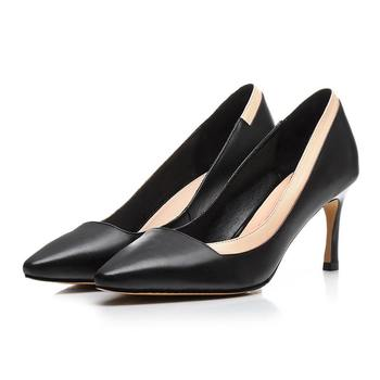 2017 fashion slip on shallow women pumps high heels mixed colors pointed toe genuine leather shallow office lady 36