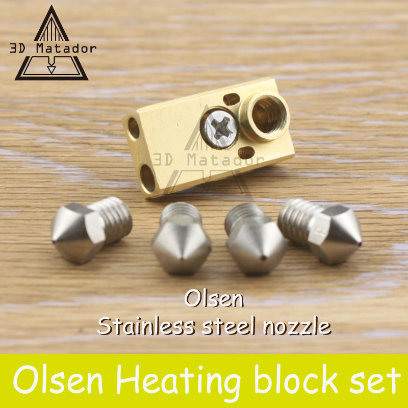 3D printer Ultimaker 2+ UM2 Extended+ Olsson block hotend kit for 1.75mm/3mm Filament Stainless Steel nozzle