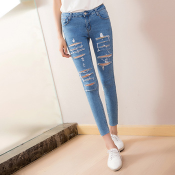 The spring and summer of 2016 Korean female nine silver hot pants tattered jeans girl Slim Pencil jeans