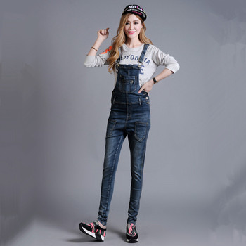 2017 New Fashion Denim Bib Pants Spaghetti Strap One Piece Jeans For Women Overalls 26-40 Stretch Rompers Trousers