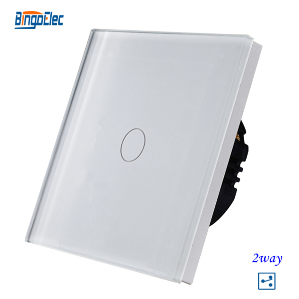 1gang 2way stair wall switch,white crystal toughened glass touch 2way light switch EU/UK standard AC110-250V