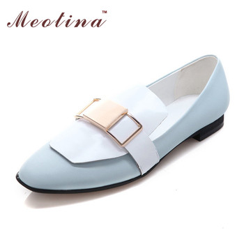 Meotina Shoes Women Flats Brand Desinger Genuine Leather Shoes Fashion Square Toe Sequined Flat Ladies Blue Shoes Large Size 10