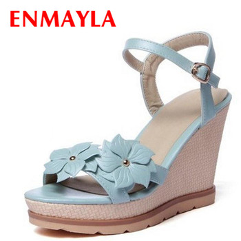 ENMAYLA Wedges Bohemia Flowers Charm Ladies Sandals Women High Heels Sandals for Summer Party Sexy Gladiator Sandals Women Shoes