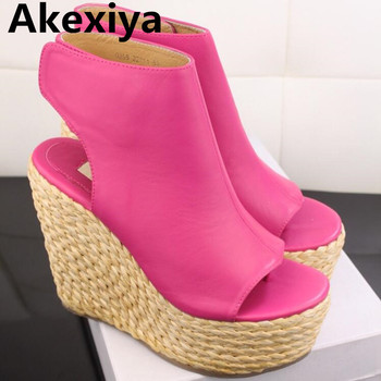 Akexiya 2017 New Summer Classic Straw Sandals Slope Thick Crust Fish Head Clip Toe Sandals Women Sandals SIZE 34-39