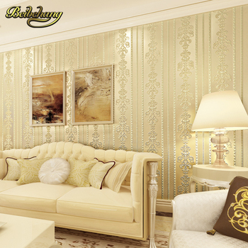 Beibehang papel de parede Continental cozy bedroom luxury vertical stripes wallpaper the living room TV backdrop stereoscopic 3D
