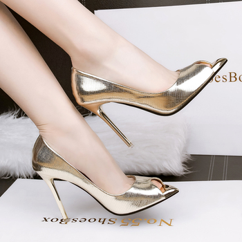 Peep Toe Serpentine Woman High Thin Heels Pumps Lady' Sexy PU Women Shoes Plus Small size High Heeled Special Party Single Shoe