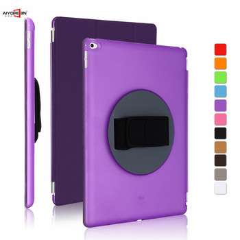For ipad pro 12.9 case,aiyopeen handheld 360 degree rotating cover 3-fold pu leather smart wake up sleep +hard pc back