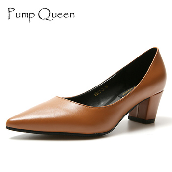 Elegant Women Pumps 2017 Shoes Woman Pointed Toe 5CM Med Thick Heels Ladies Office Heels Dress Shoes Zapatos Mujer Size 36-41