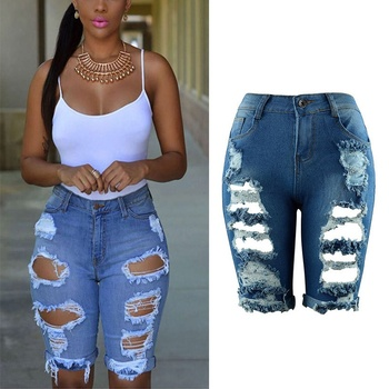 Summer 2017 High Waist Shorts Women Denim Shorts Streetwear Ripped Jeans Short Hole Worn Casual Vintage Women Shorts X2
