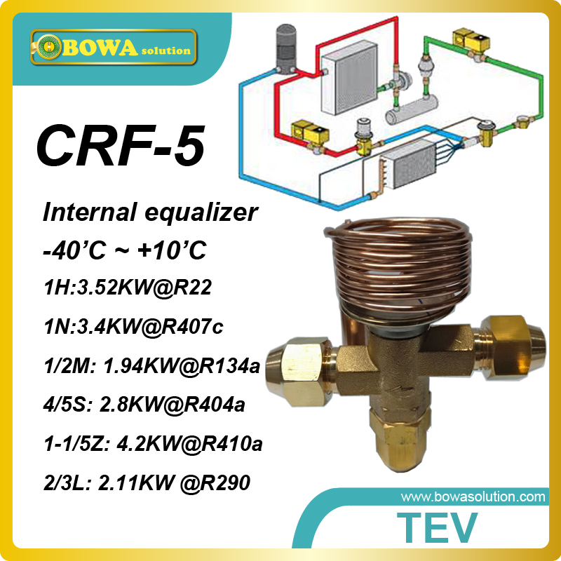 CRF-5 R407c 1TR thermal expansion valve with SAE flare connection designed for kitchen equipments of resturant or hotel