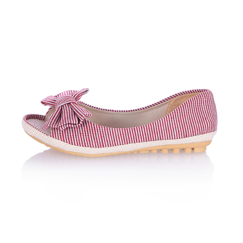 EGONERY Sweet Bowtie Canvas Comfortable Peep Toe Summer Style Womens Shoes Slip On Casual Ladies Flats