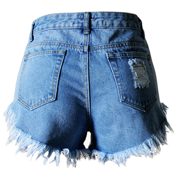 Woman's Tassel Ripped Distress High Waist Denim Shorts Jeans, Blue 32-44