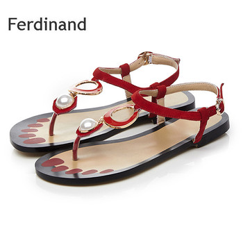 Women Genuine leather sandals Sleepskin String Bead Red Mixed color Ladies Casual shoes Summer Fashion Women flat shoes size4~10