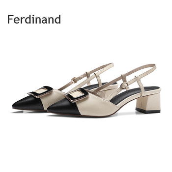 Women Genuine leather Sandals high heel shoes Pointed toe Square Women Party shoes Summer Fashion Buckle women shoes Mixed color