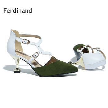 Genuine leather shoes Women high heel shoes Pumps Green Pointed toe Thin heel Mixed color Buckle Summer Fashion Causal shoes